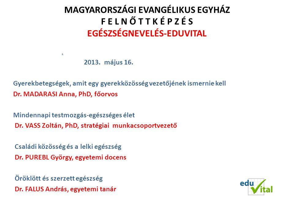 Öröklött és szerzett egészség Evangélikus Hittudományi Egyetem, 2013.