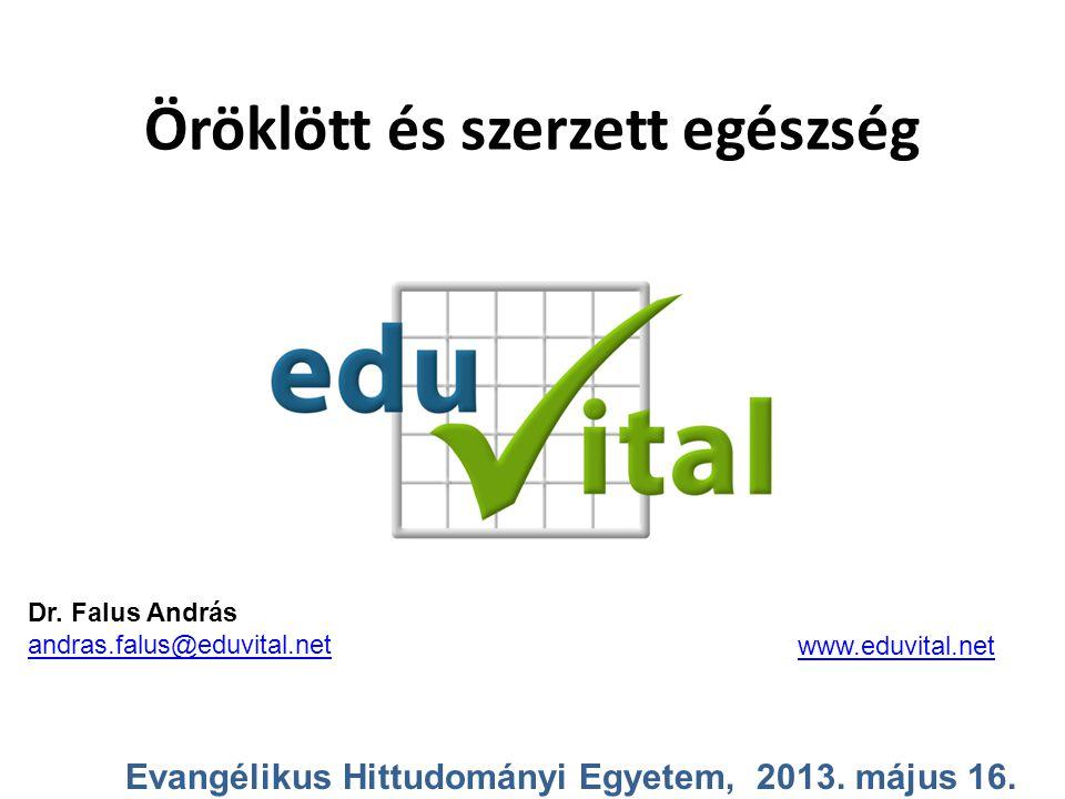 Öröklött és szerzett egészség Evangélikus Hittudományi Egyetem, 2013. május 16. Dr. Falus András andras.falus@eduvital.net www.eduvital.net