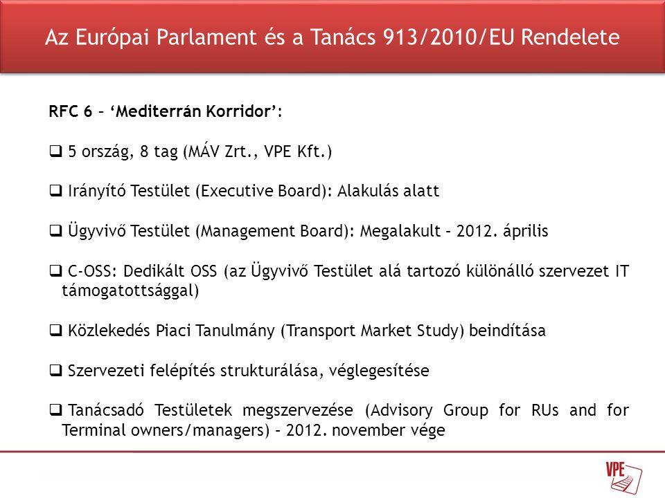 RFC 6 – 'Mediterrán Korridor':  5 ország, 8 tag (MÁV Zrt., VPE Kft.)  Irányító Testület (Executive Board): Alakulás alatt  Ügyvivő Testület (Manage