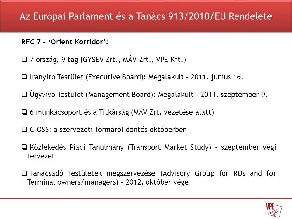 RFC 7 – 'Orient Korridor':  7 ország, 9 tag (GYSEV Zrt., MÁV Zrt., VPE Kft.)  Irányító Testület (Executive Board): Megalakult - 2011. június 16.  Ü