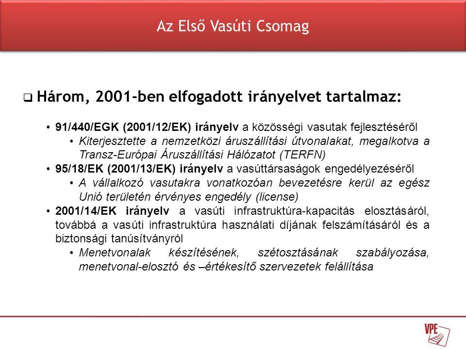  Három, 2001-ben elfogadott irányelvet tartalmaz: •91/440/EGK (2001/12/EK) irányelv a közösségi vasutak fejlesztéséről •Kiterjesztette a nemzetközi á