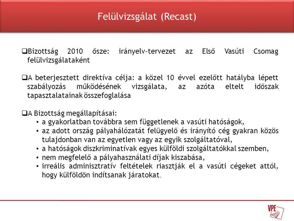  Bizottság 2010 ősze: irányelv-tervezet az Első Vasúti Csomag felülvizsgálataként  A beterjesztett direktíva célja: a közel 10 évvel ezelőtt hatályb