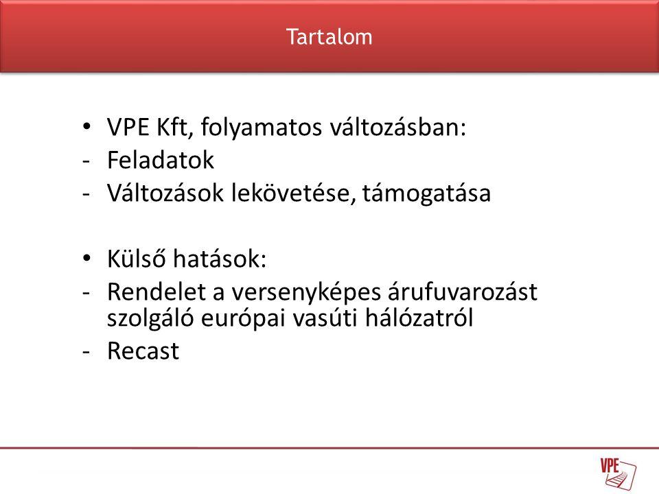 • VPE Kft, folyamatos változásban: -Feladatok -Változások lekövetése, támogatása • Külső hatások: -Rendelet a versenyképes árufuvarozást szolgáló euró