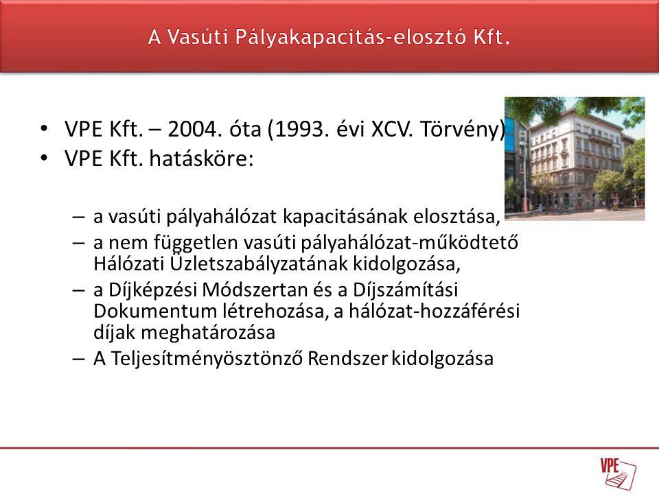 • VPE Kft. – 2004. óta (1993. évi XCV. Törvény) • VPE Kft. hatásköre: – a vasúti pályahálózat kapacitásának elosztása, – a nem független vasúti pályah