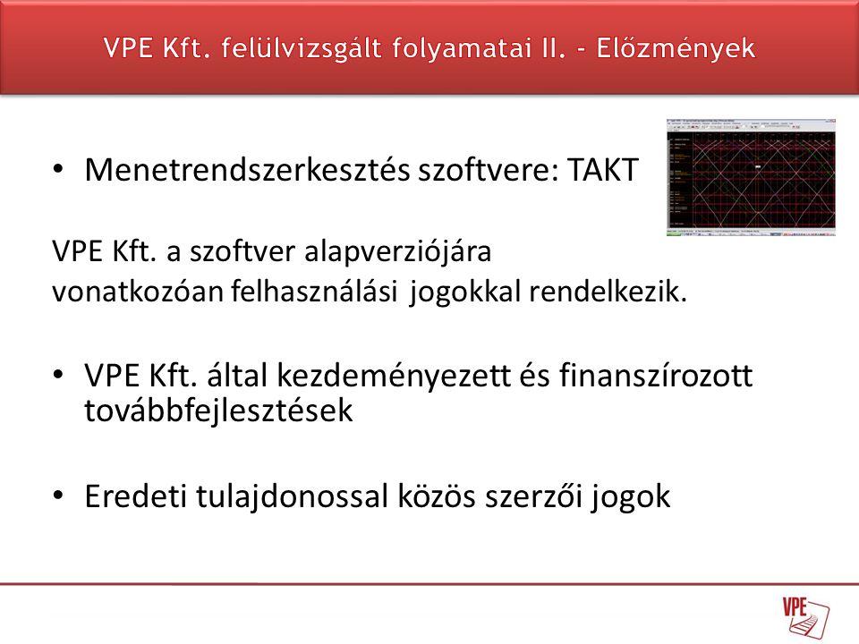 • Menetrendszerkesztés szoftvere: TAKT VPE Kft. a szoftver alapverziójára vonatkozóan felhasználási jogokkal rendelkezik. • VPE Kft. által kezdeményez