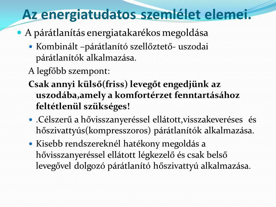 Az energiatudatos szemlélet elemei.  A párátlanítás energiatakarékos megoldása  Kombinált –párátlanító szellőztető- uszodai párátlanítók alkalmazása