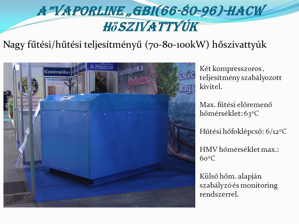 """A""""Vaporline """"GBI(66-80-96)-HACW h ő szivattyúk Két kompresszoros, teljesítmény szabályozott kivitel. Max. fűtési előremenő hőmérséklet: 63 0 C Hűtési"""