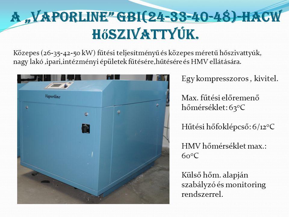 """A """"Vaporline"""" GBI(24-33-40-48)-HACW h ő szivattyúk. Egy kompresszoros, kivitel. Max. fűtési előremenő hőmérséklet: 63 0 C Hűtési hőfoklépcső: 6/12 0 C"""