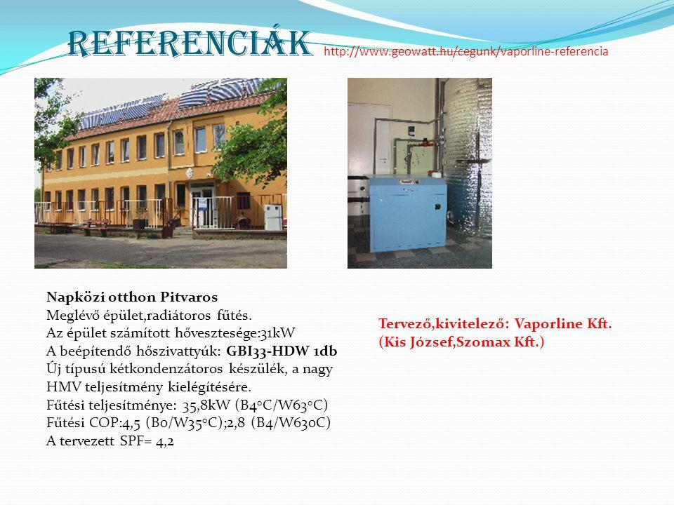 Referenciák http://www.geowatt.hu/cegunk/vaporline-referencia Napközi otthon Pitvaros Meglévő épület,radiátoros fűtés. Az épület számított hőveszteség