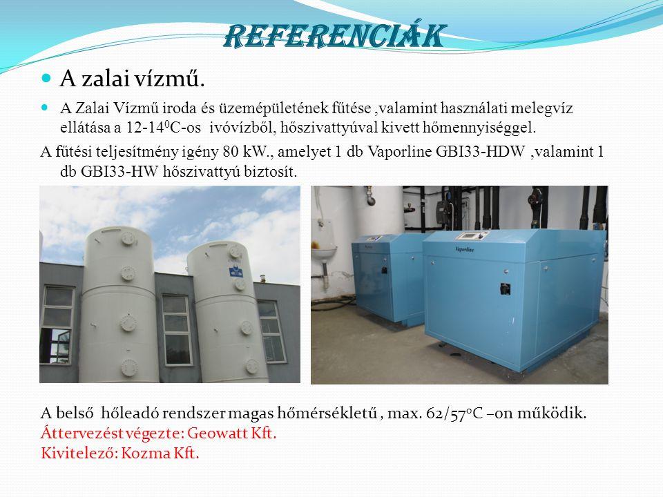 Referenciák  A zalai vízmű.  A Zalai Vízmű iroda és üzemépületének fűtése,valamint használati melegvíz ellátása a 12-14 0 C-os ivóvízből, hőszivatty