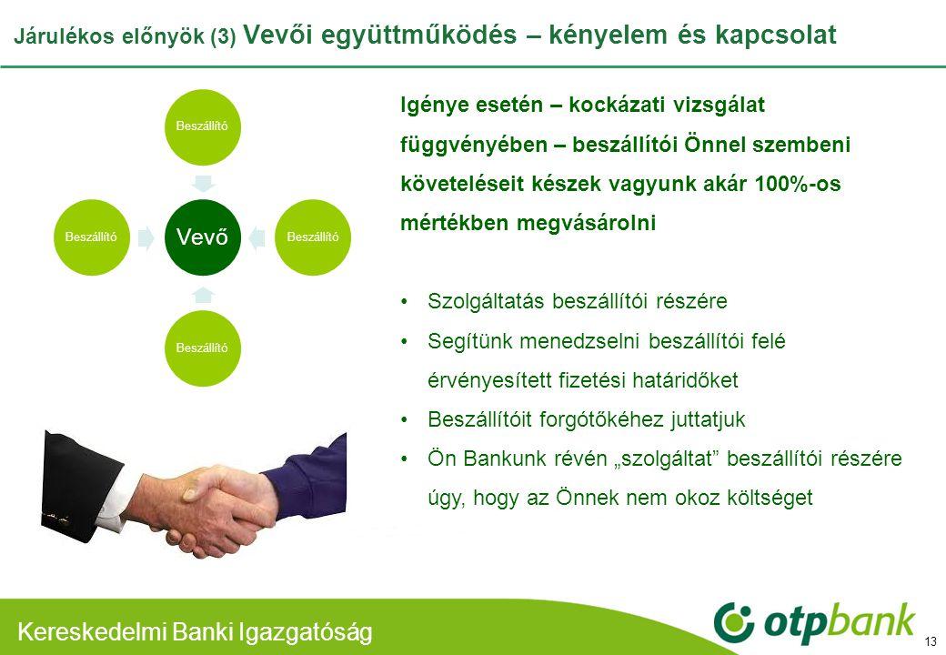 Kereskedelmi Banki Divízió Járulékos előnyök (3) Vevői együttműködés – kényelem és kapcsolat 13 Vevő Beszállító Igénye esetén – kockázati vizsgálat fü