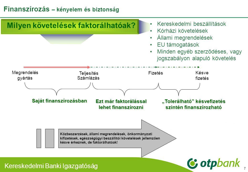Kereskedelmi Banki Divízió Kereskedelmi Banki Igazgatóság Finanszírozás – kényelem és biztonság 7 Teljesítés Saját finanszírozásban Fizetés Ezt már fa