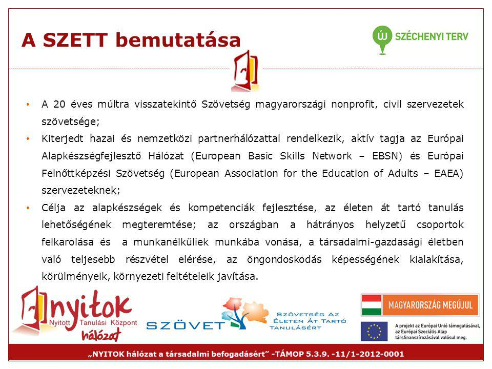 A SZETT bemutatása • A 20 éves múltra visszatekintő Szövetség magyarországi nonprofit, civil szervezetek szövetsége; • Kiterjedt hazai és nemzetközi p
