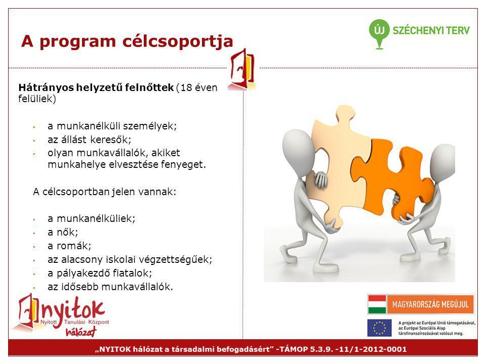 A program célcsoportja Hátrányos helyzetű felnőttek (18 éven felüliek) • a munkanélküli személyek; • az állást keresők; • olyan munkavállalók, akiket