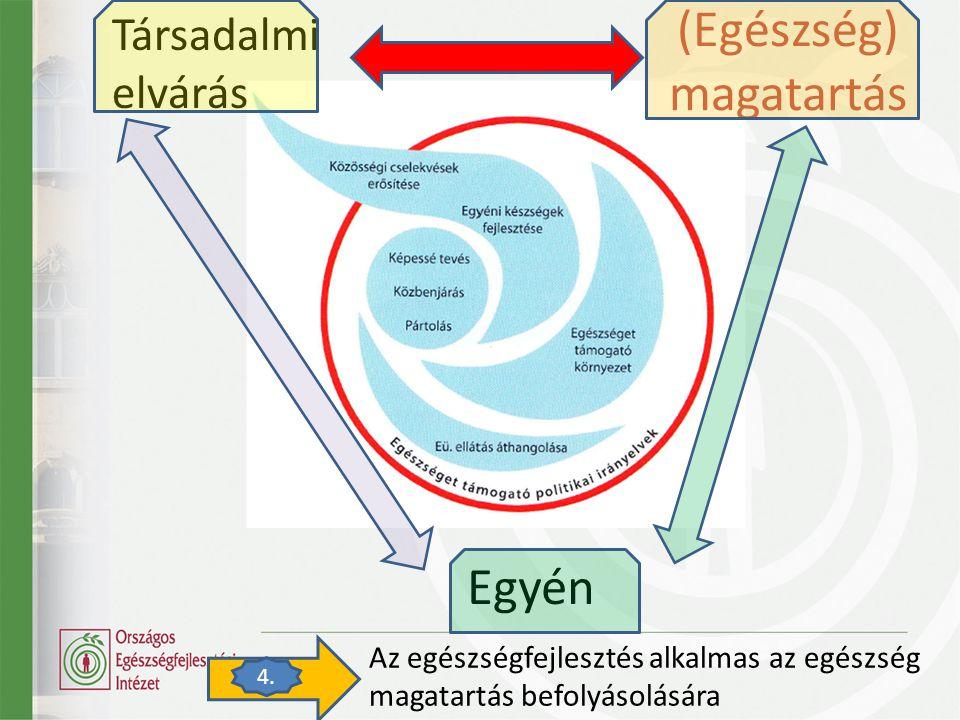 (Egészség) magatartás Egyén Társadalmi elvárás Az egészségfejlesztés alkalmas az egészség magatartás befolyásolására 4.