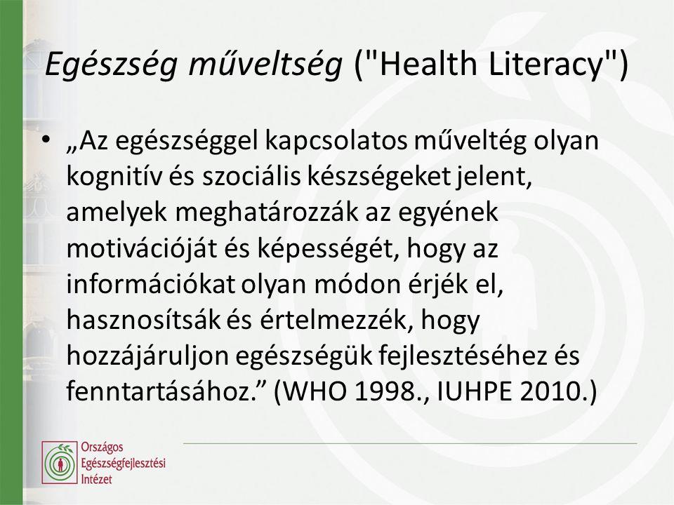 """• """"Az egészséggel kapcsolatos műveltég olyan kognitív és szociális készségeket jelent, amelyek meghatározzák az egyének motivációját és képességét, hogy az információkat olyan módon érjék el, hasznosítsák és értelmezzék, hogy hozzájáruljon egészségük fejlesztéséhez és fenntartásához. (WHO 1998., IUHPE 2010.) Egészség műveltség ( Health Literacy )"""