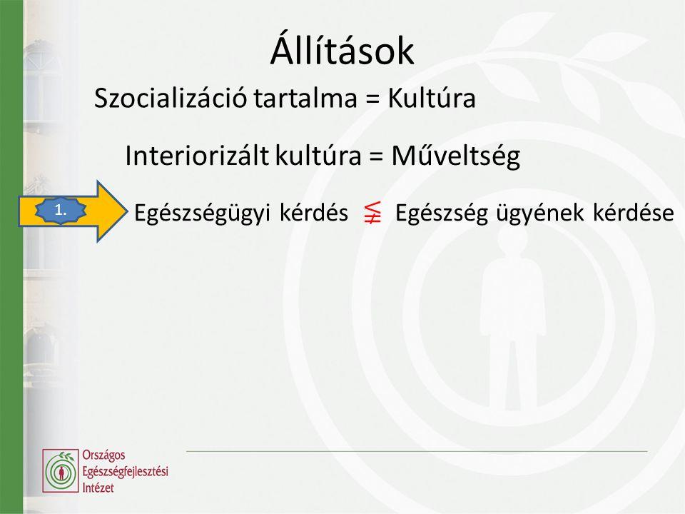 Állítások Szocializáció tartalma = Kultúra Egészségügyi kérdés ≨ Egészség ügyének kérdése Interiorizált kultúra = Műveltség 1.