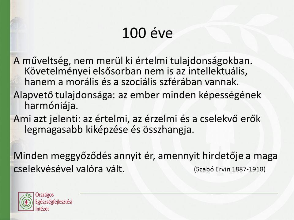 100 éve A műveltség, nem merül ki értelmi tulajdonságokban.