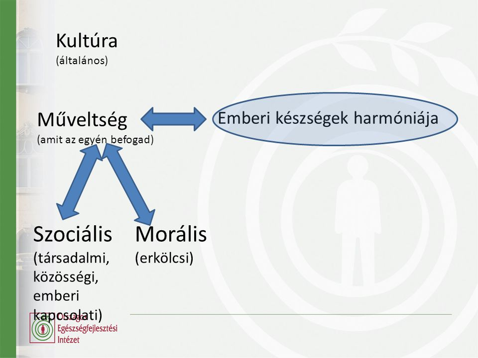 Műveltség (amit az egyén befogad) Szociális (társadalmi, közösségi, emberi kapcsolati) Morális (erkölcsi) Emberi készségek harmóniája Kultúra (általános)