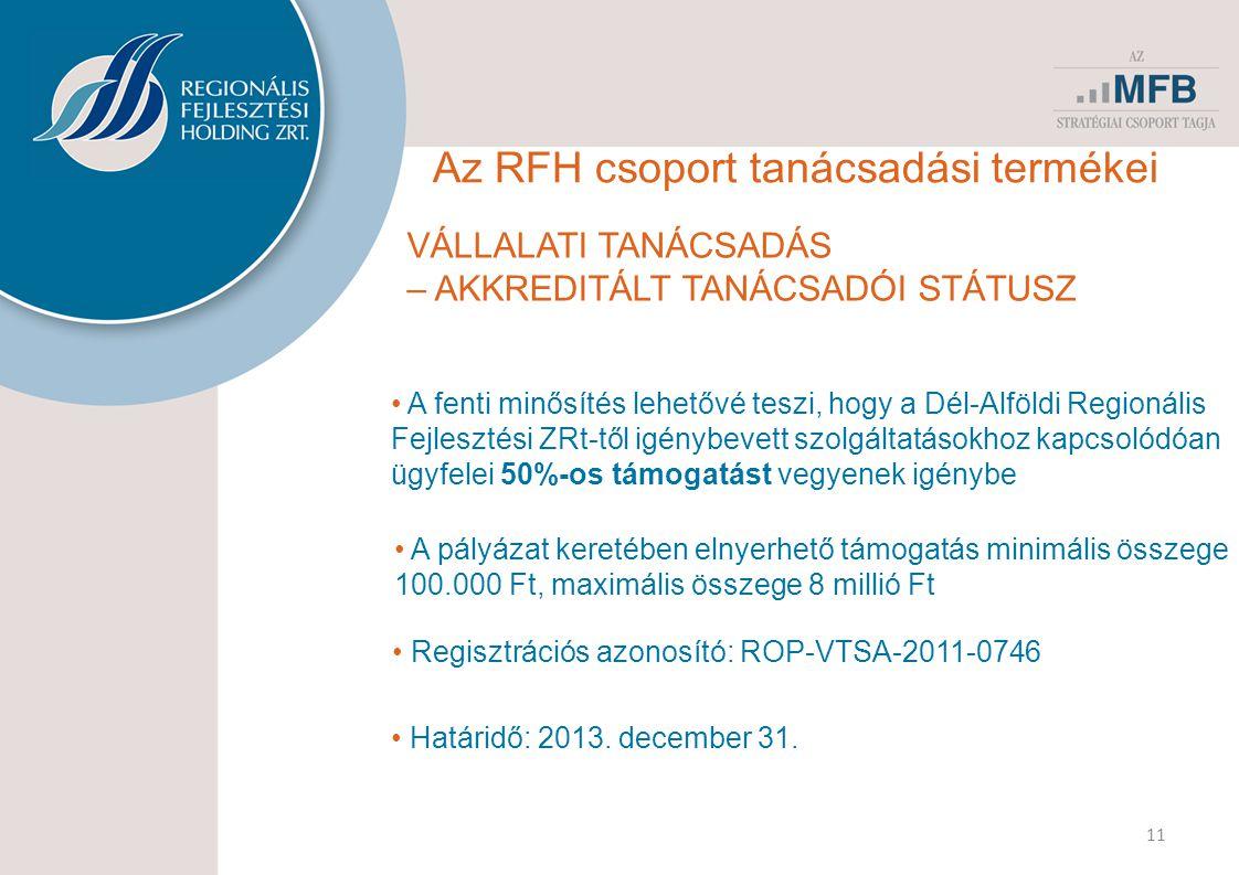 11 Az RFH csoport tanácsadási termékei VÁLLALATI TANÁCSADÁS – AKKREDITÁLT TANÁCSADÓI STÁTUSZ • A fenti minősítés lehetővé teszi, hogy a Dél-Alföldi Regionális Fejlesztési ZRt-től igénybevett szolgáltatásokhoz kapcsolódóan ügyfelei 50%-os támogatást vegyenek igénybe • A pályázat keretében elnyerhető támogatás minimális összege 100.000 Ft, maximális összege 8 millió Ft • Regisztrációs azonosító: ROP-VTSA-2011-0746 • Határidő: 2013.