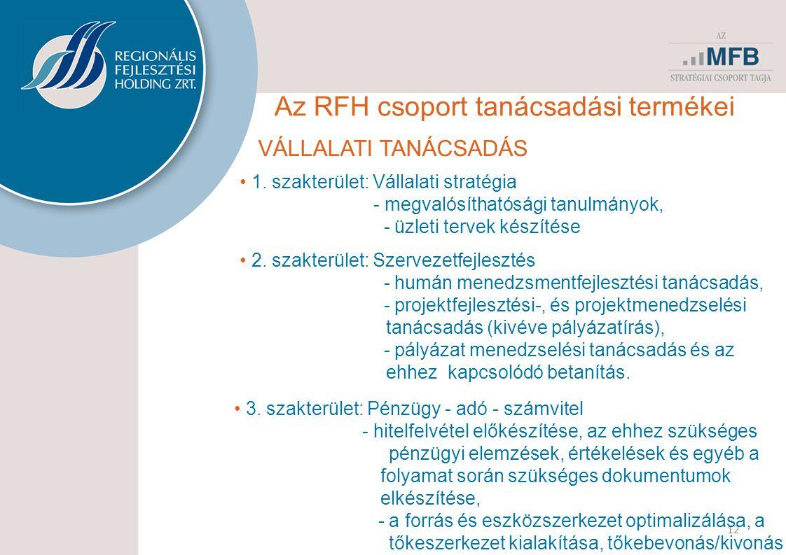 12 Az RFH csoport tanácsadási termékei VÁLLALATI TANÁCSADÁS • 1. szakterület: Vállalati stratégia - megvalósíthatósági tanulmányok, - üzleti tervek ké