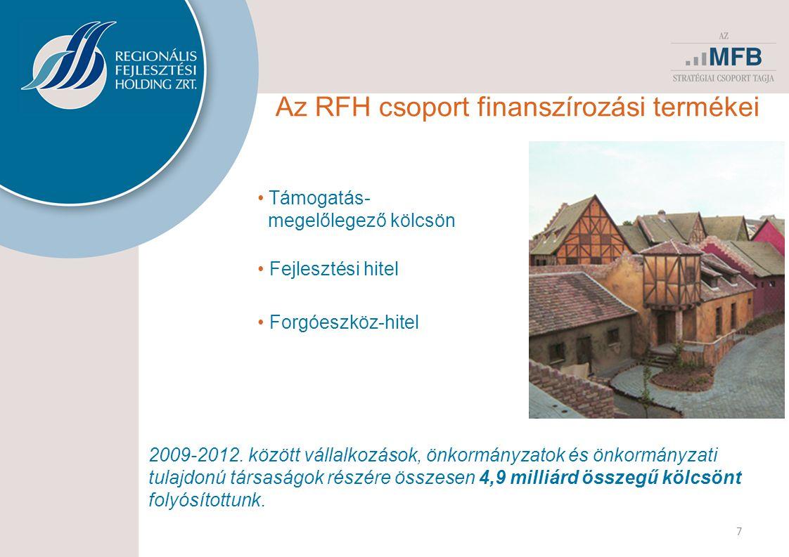 7 Az RFH csoport finanszírozási termékei • Támogatás- megelőlegező kölcsön • Fejlesztési hitel • Forgóeszköz-hitel 2009-2012. között vállalkozások, ön