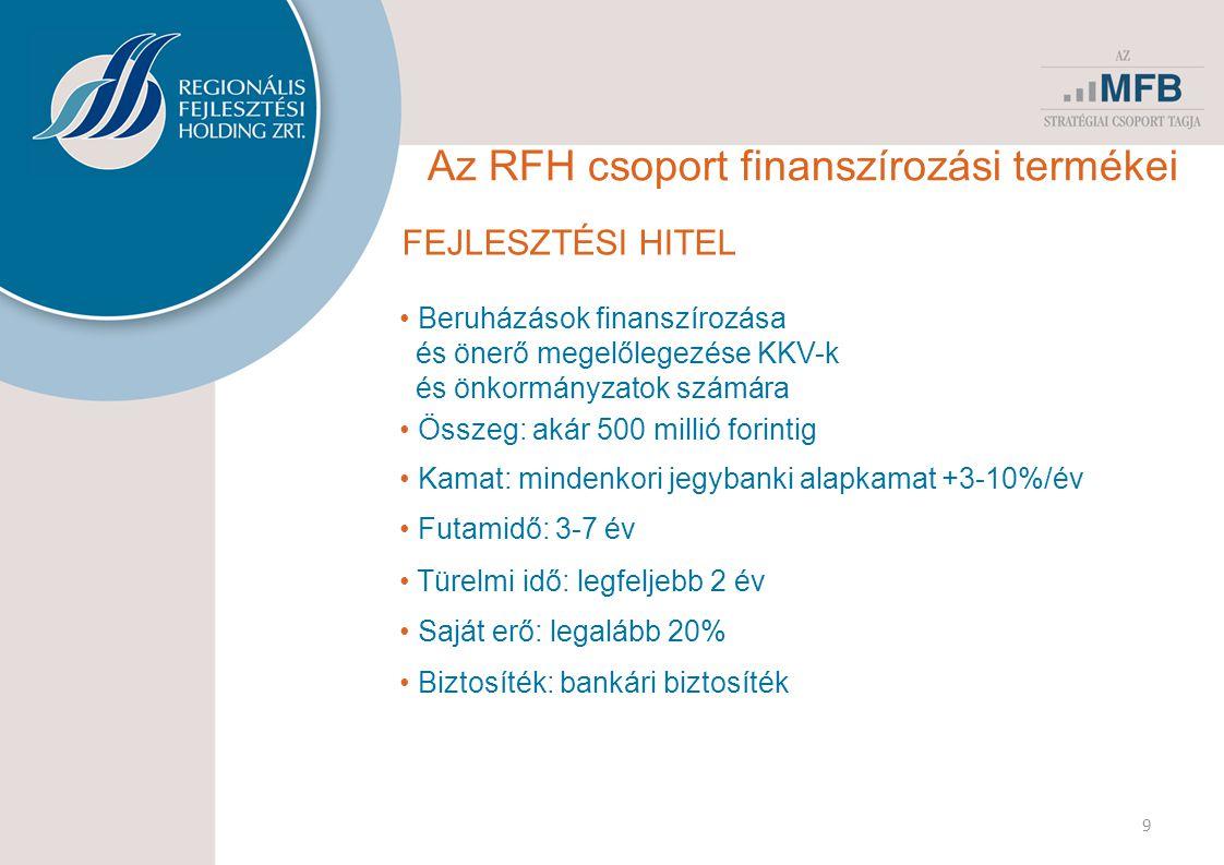 FEJLESZTÉSI HITEL • Beruházások finanszírozása és önerő megelőlegezése KKV-k és önkormányzatok számára • Összeg: akár 500 millió forintig • Kamat: mindenkori jegybanki alapkamat +3-10%/év • Futamidő: 3-7 év • Türelmi idő: legfeljebb 2 év • Saját erő: legalább 20% 9 • Biztosíték: bankári biztosíték Az RFH csoport finanszírozási termékei