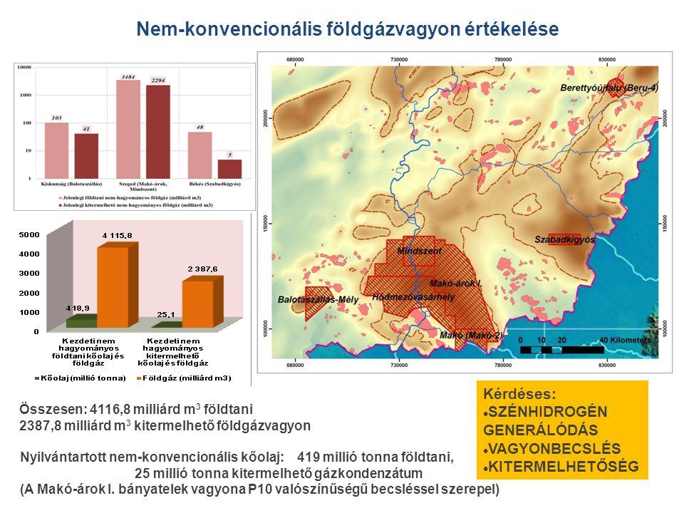 Nem-konvencionális földgázvagyon értékelése Összesen: 4116,8 milliárd m 3 földtani 2387,8 milliárd m 3 kitermelhető földgázvagyon Nyilvántartott nem-konvencionális kőolaj: 419 millió tonna földtani, 25 millió tonna kitermelhető gázkondenzátum (A Makó-árok I.
