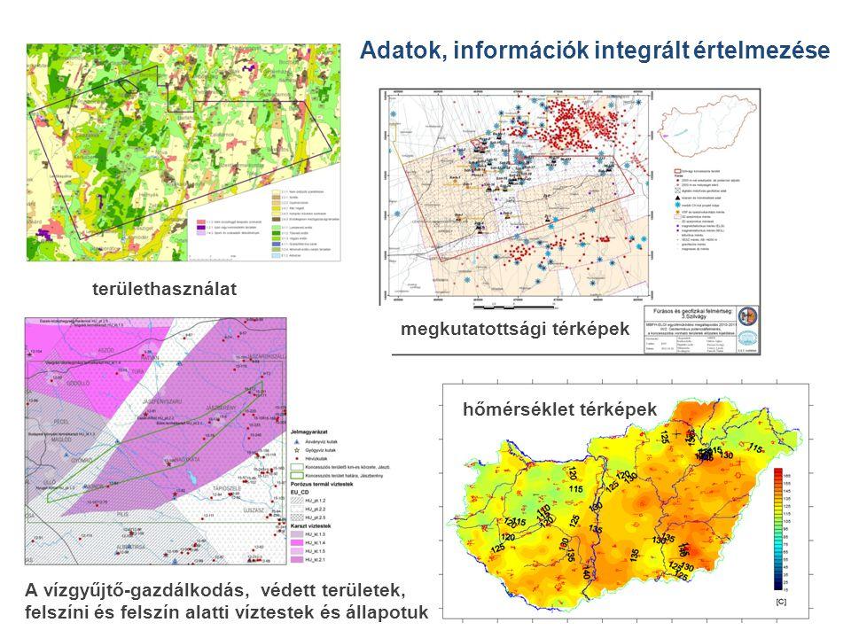 területhasználat megkutatottsági térképek A vízgyűjtő-gazdálkodás, védett területek, felszíni és felszín alatti víztestek és állapotuk hőmérséklet térképek Adatok, információk integrált értelmezése