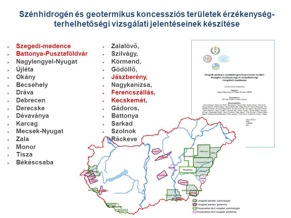 Szénhidrogén és geotermikus koncessziós területek érzékenység- terhelhetőségi vizsgálati jelentéseinek készítése  Szegedi-medence  Battonya-Pusztafö