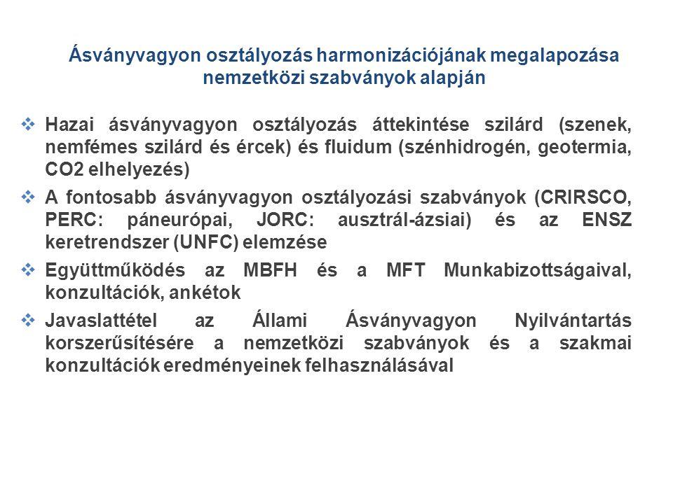 Ásványvagyon osztályozás harmonizációjának megalapozása nemzetközi szabványok alapján  Hazai ásványvagyon osztályozás áttekintése szilárd (szenek, ne