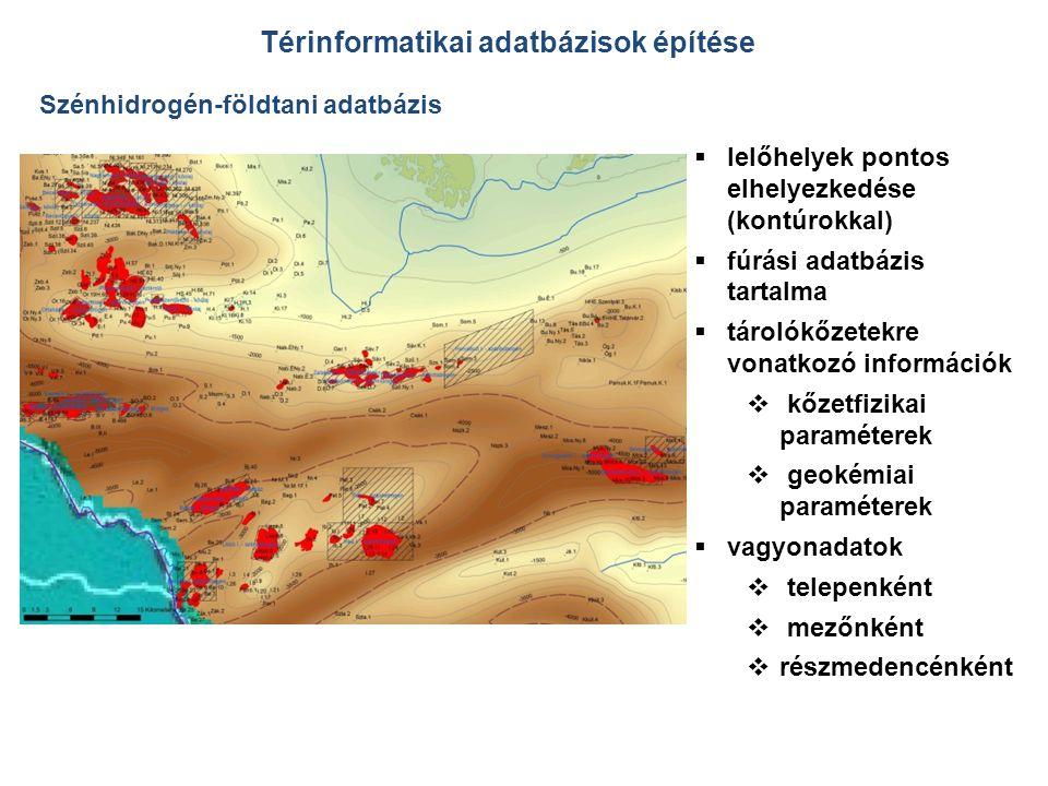  lelőhelyek pontos elhelyezkedése (kontúrokkal)  fúrási adatbázis tartalma  tárolókőzetekre vonatkozó információk  kőzetfizikai paraméterek  geokémiai paraméterek  vagyonadatok  telepenként  mezőnként  részmedencénként Térinformatikai adatbázisok építése Szénhidrogén-földtani adatbázis