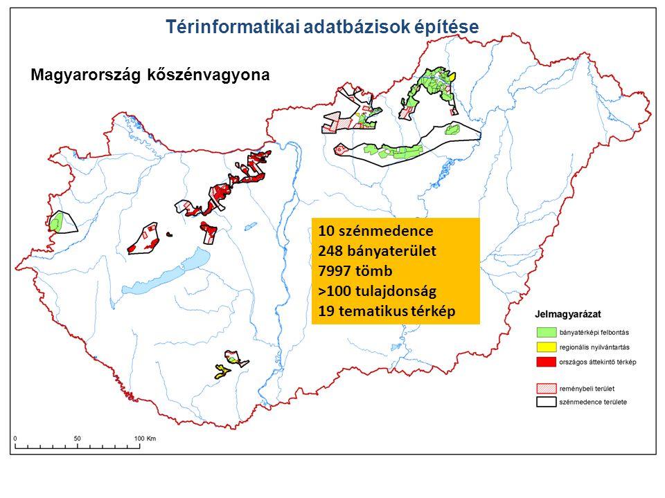 Magyarország kőszénvagyona 10 szénmedence 248 bányaterület 7997 tömb >100 tulajdonság 19 tematikus térkép Térinformatikai adatbázisok építése
