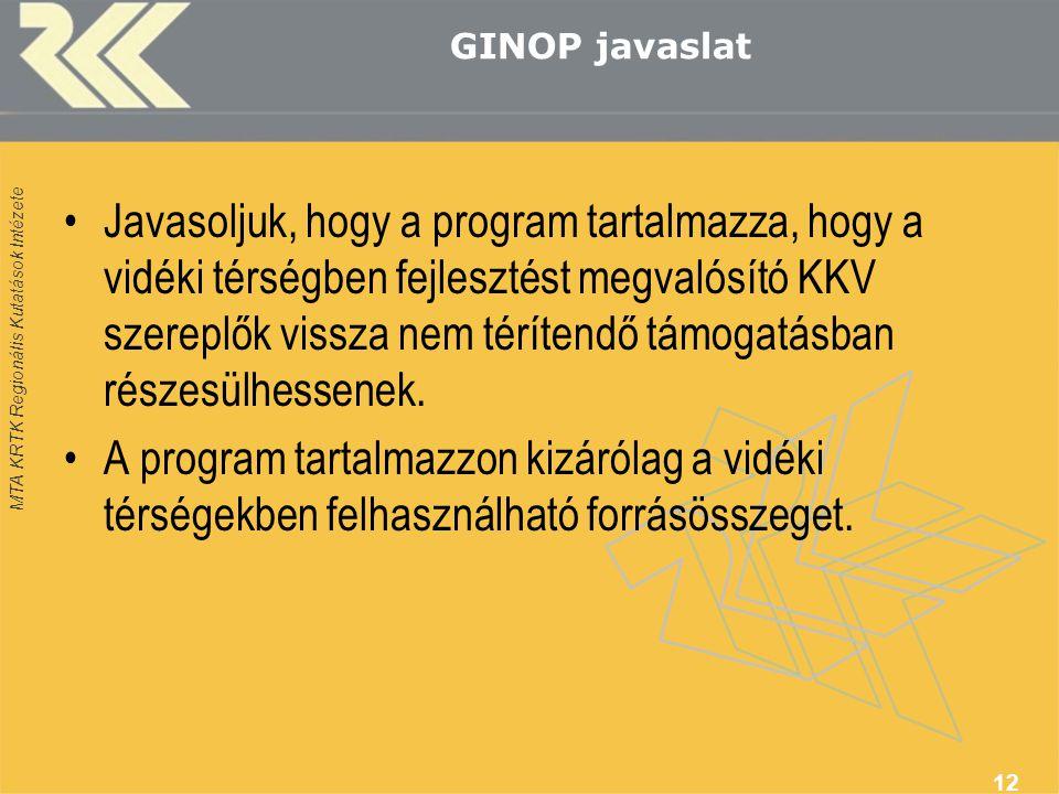MTA KRTK Regionális Kutatások Intézete GINOP javaslat •Javasoljuk, hogy a program tartalmazza, hogy a vidéki térségben fejlesztést megvalósító KKV szereplők vissza nem térítendő támogatásban részesülhessenek.