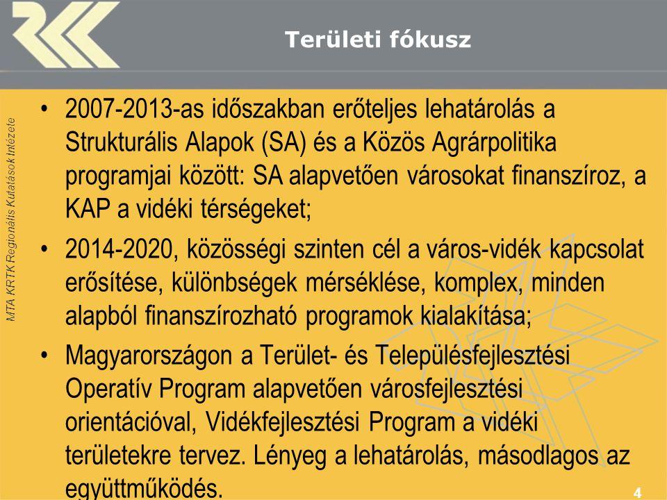 MTA KRTK Regionális Kutatások Intézete Területi fókusz •2007-2013-as időszakban erőteljes lehatárolás a Strukturális Alapok (SA) és a Közös Agrárpolitika programjai között: SA alapvetően városokat finanszíroz, a KAP a vidéki térségeket; •2014-2020, közösségi szinten cél a város-vidék kapcsolat erősítése, különbségek mérséklése, komplex, minden alapból finanszírozható programok kialakítása; •Magyarországon a Terület- és Településfejlesztési Operatív Program alapvetően városfejlesztési orientációval, Vidékfejlesztési Program a vidéki területekre tervez.