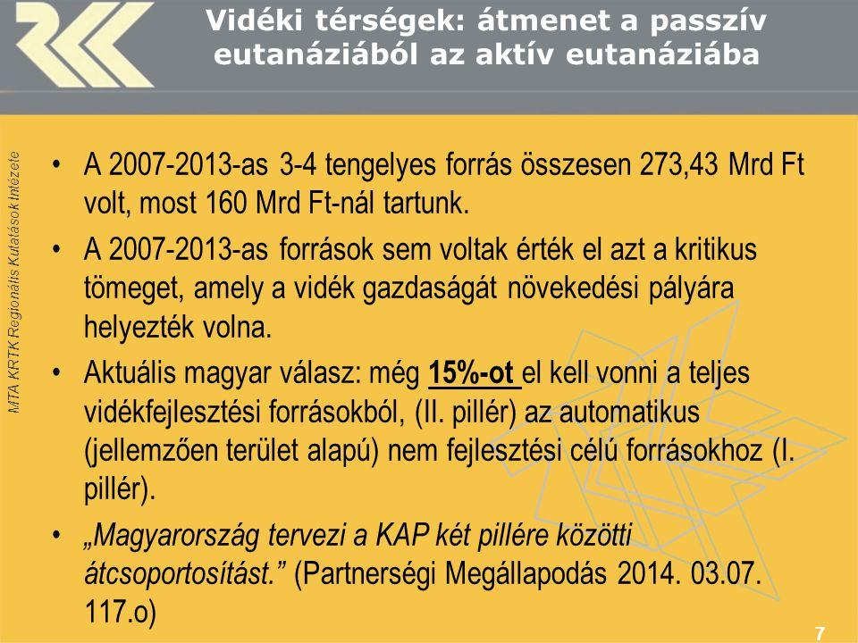 MTA KRTK Regionális Kutatások Intézete Vidéki térségek: átmenet a passzív eutanáziából az aktív eutanáziába •A 2007-2013-as 3-4 tengelyes forrás össze