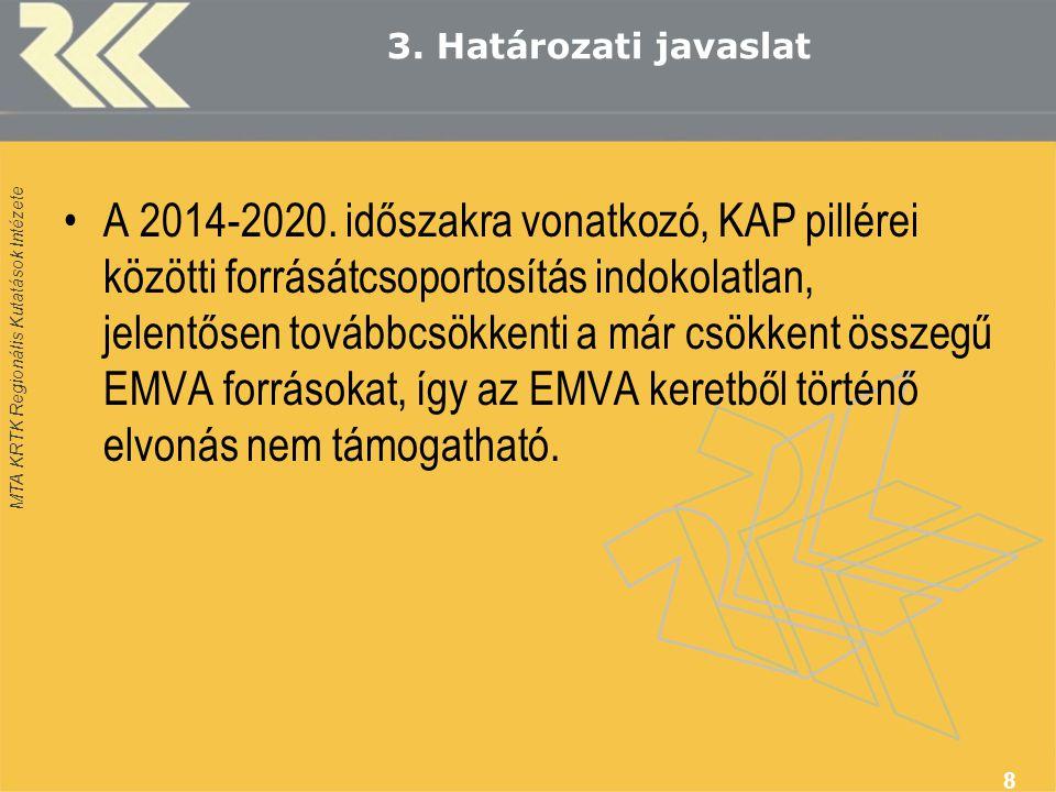 MTA KRTK Regionális Kutatások Intézete 3. Határozati javaslat •A 2014-2020. időszakra vonatkozó, KAP pillérei közötti forrásátcsoportosítás indokolatl