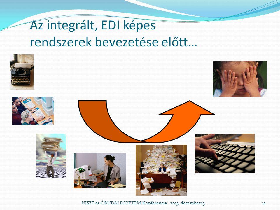 Az integrált, EDI képes rendszerek bevezetése előtt… NJSZT és ÓBUDAI EGYETEM Konferencia 2013.
