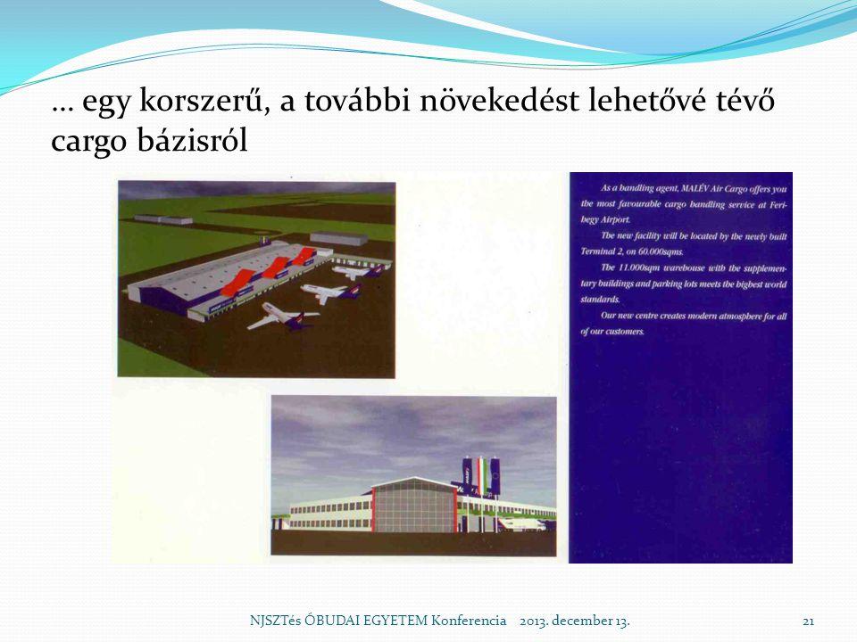 … egy korszerű, a további növekedést lehetővé tévő cargo bázisról NJSZTés ÓBUDAI EGYETEM Konferencia 2013.