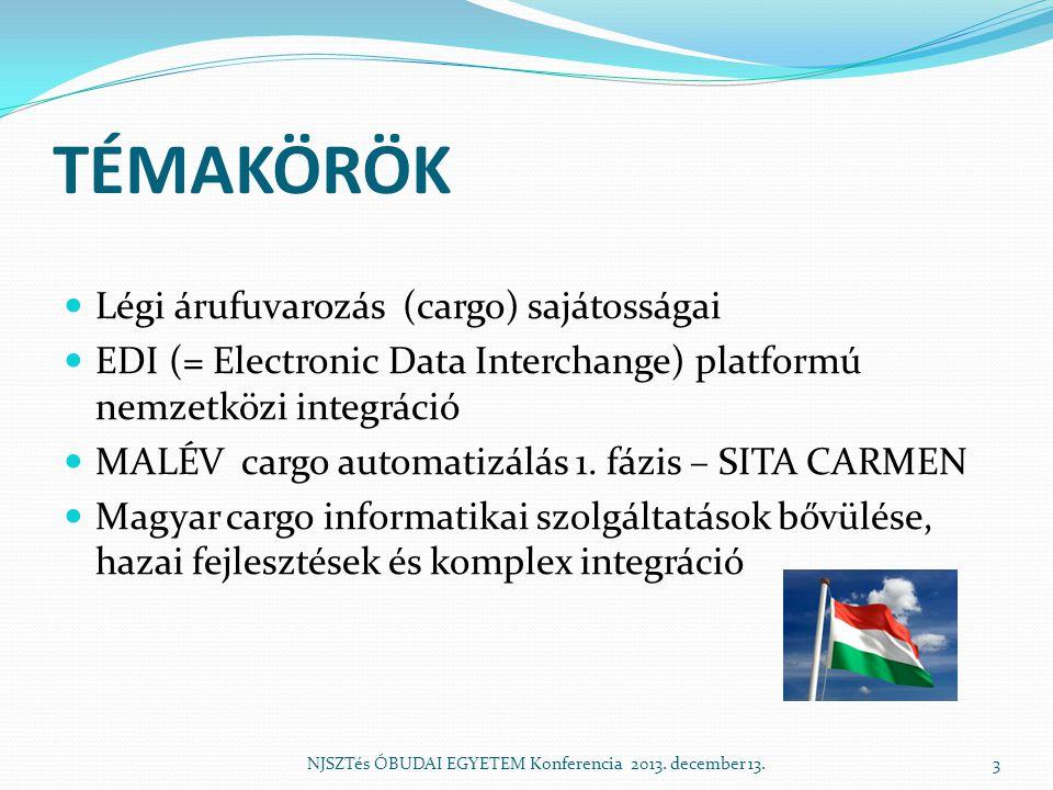 TÉMAKÖRÖK  Légi árufuvarozás (cargo) sajátosságai  EDI (= Electronic Data Interchange) platformú nemzetközi integráció  MALÉV cargo automatizálás 1.