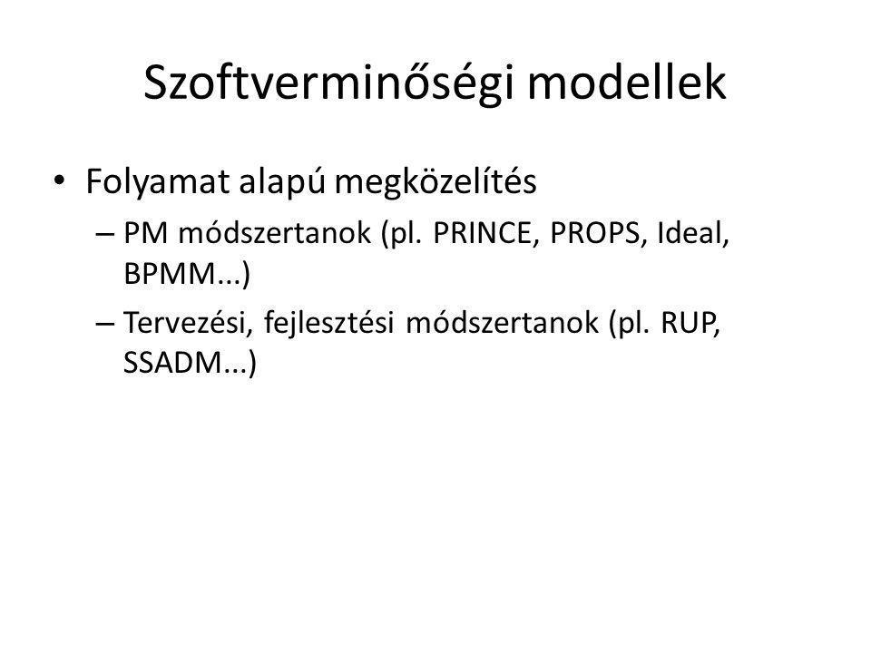 Szoftverminőségi modellek • Folyamat alapú megközelítés – PM módszertanok (pl. PRINCE, PROPS, Ideal, BPMM...) – Tervezési, fejlesztési módszertanok (p