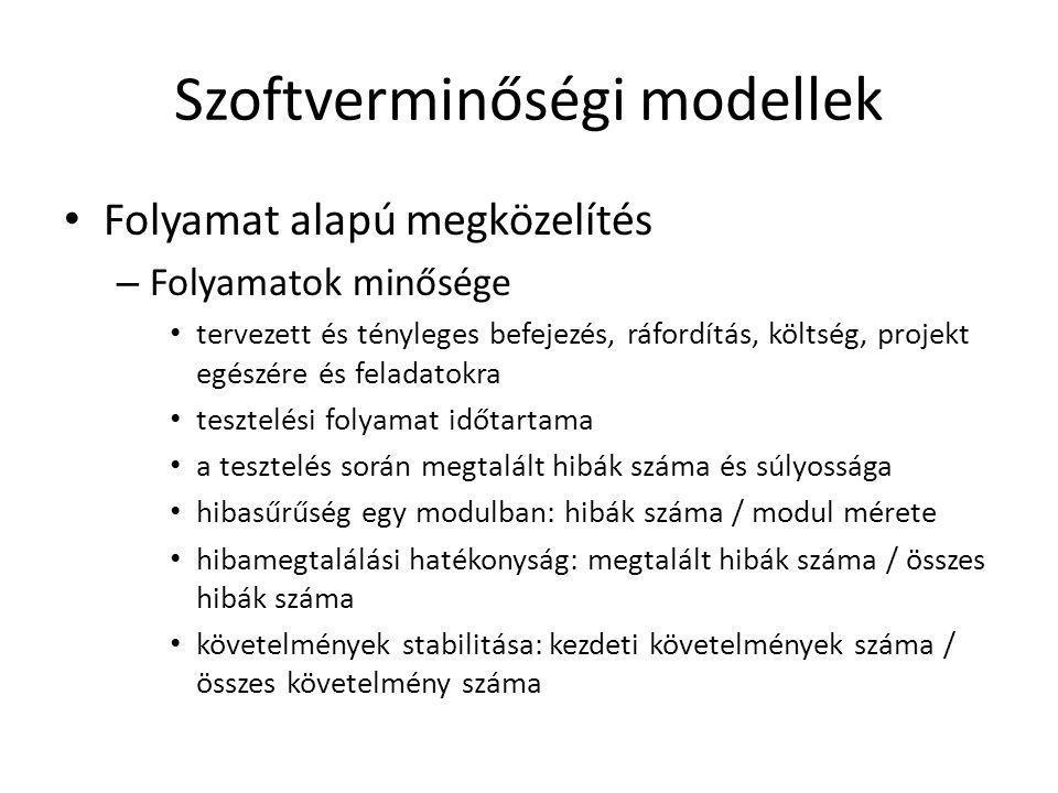 Szoftverminőségi modellek • Folyamat alapú megközelítés – Folyamatok minősége • tervezett és tényleges befejezés, ráfordítás, költség, projekt egészér