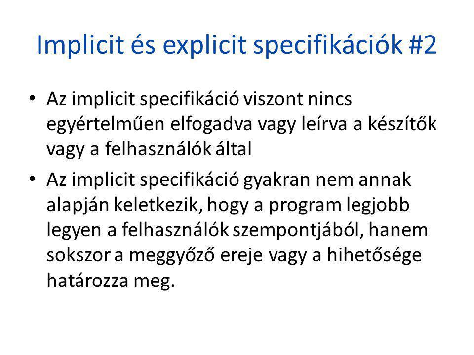 Implicit és explicit specifikációk #2 • Az implicit specifikáció viszont nincs egyértelműen elfogadva vagy leírva a készítők vagy a felhasználók által