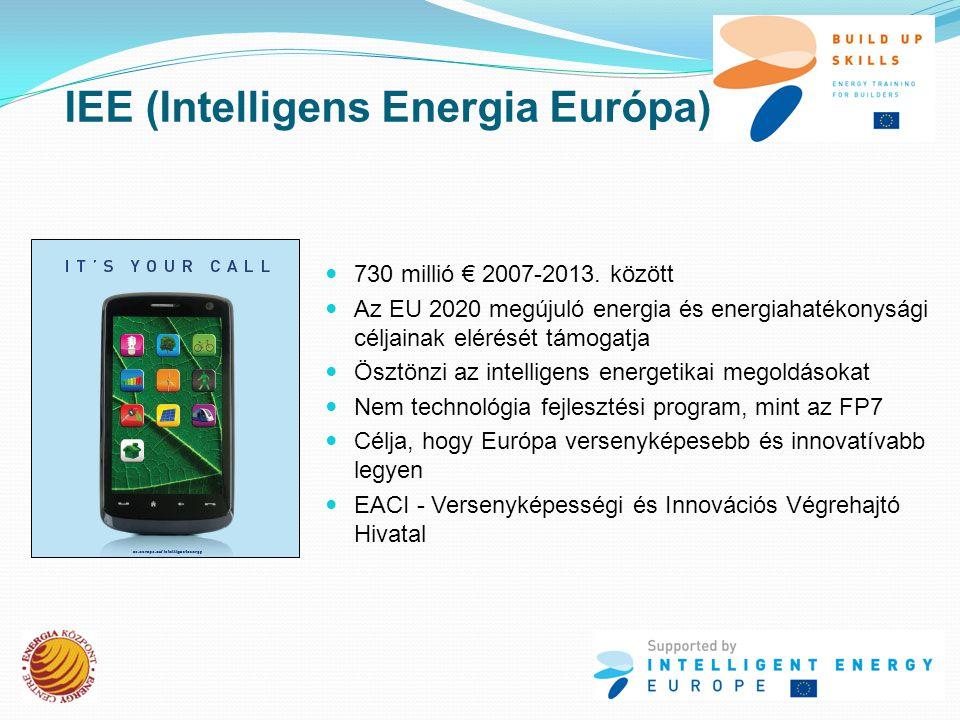 IEE által támogatott tevékenységek  Tudástranszfer  Tudatformálás  Képzés, oktatás  Kisebb fejlesztések (soft) Energia hatékonyság Megújuló energiaforrások Integrált megoldások Energia hatékony közlekedés