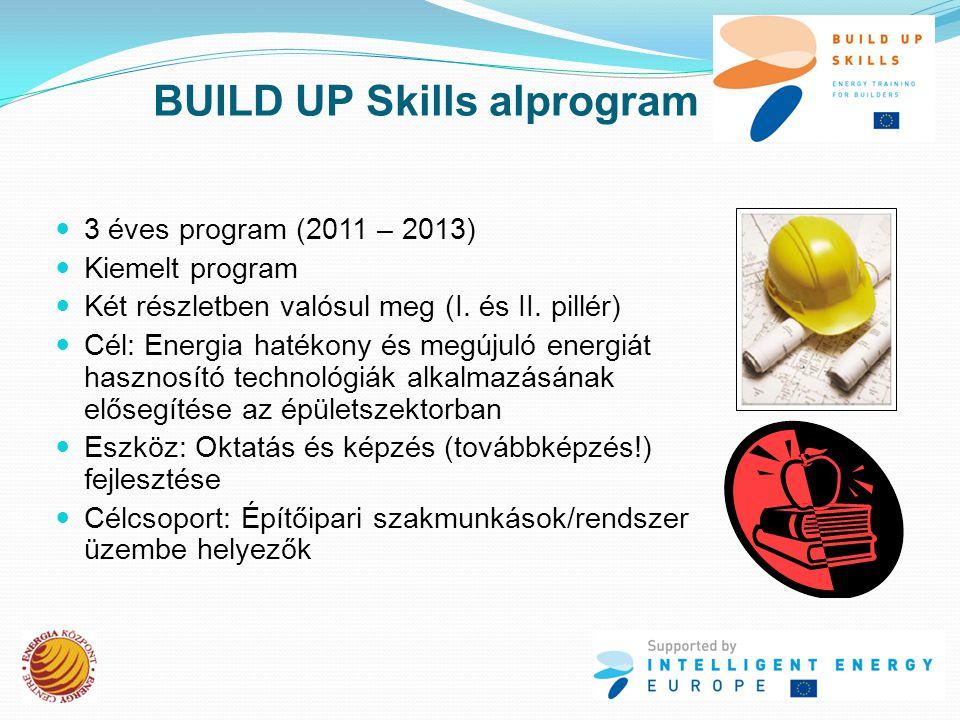 BUILD UP Skills alprogram  3 éves program (2011 – 2013)  Kiemelt program  Két részletben valósul meg (I.