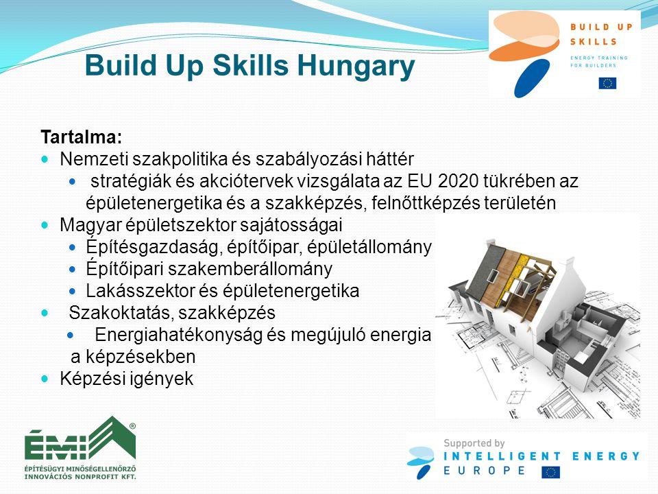 Tartalma:  Nemzeti szakpolitika és szabályozási háttér  stratégiák és akciótervek vizsgálata az EU 2020 tükrében az épületenergetika és a szakképzés