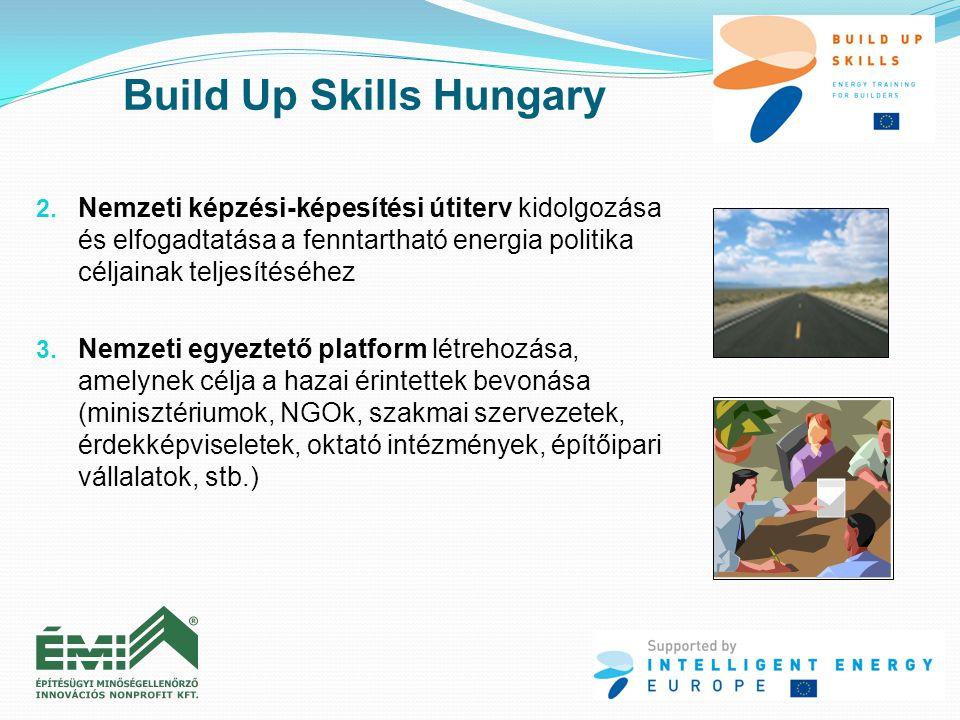 2. Nemzeti képzési-képesítési útiterv kidolgozása és elfogadtatása a fenntartható energia politika céljainak teljesítéséhez 3. Nemzeti egyeztető platf