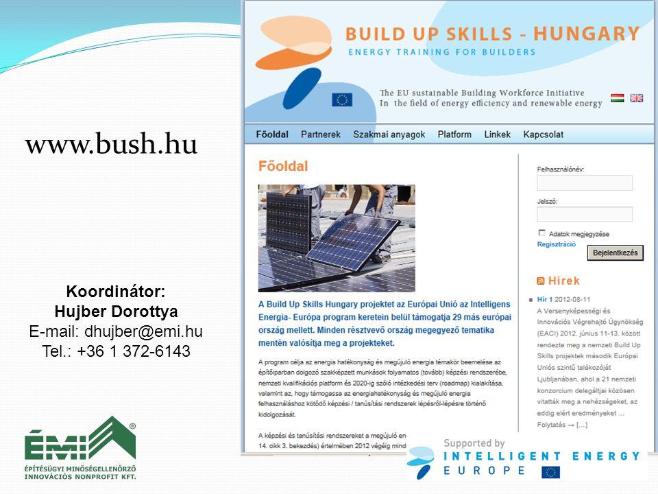 Koordinátor: Hujber Dorottya E-mail: dhujber@emi.hu Tel.: +36 1 372-6143 www.bush.hu
