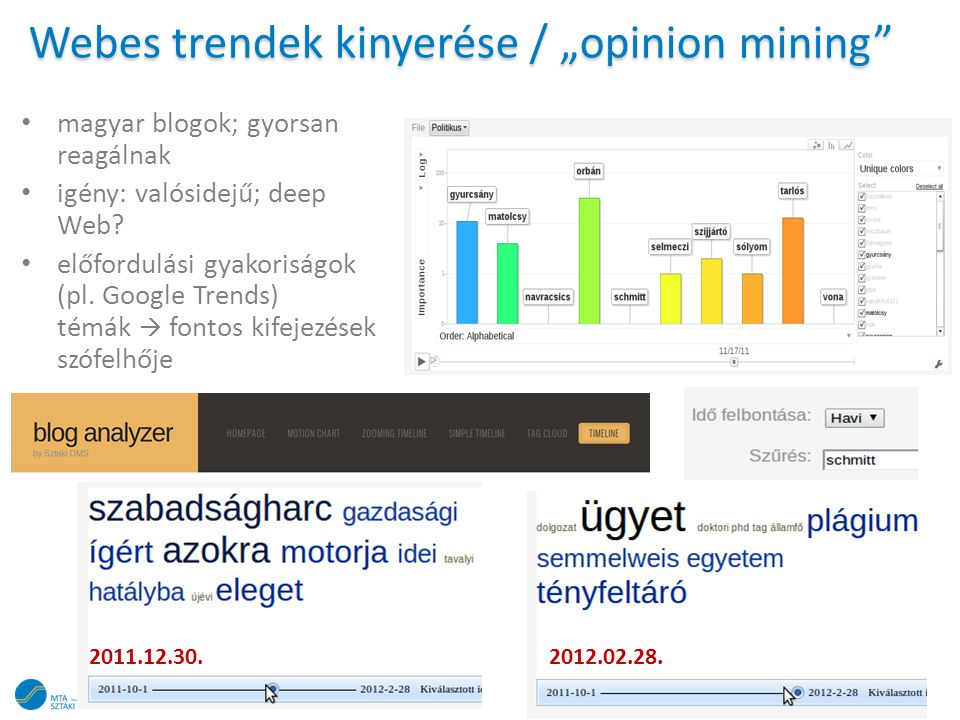 """Webes trendek kinyerése / """"opinion mining"""" • magyar blogok; gyorsan reagálnak • igény: valósidejű; deep Web? • előfordulási gyakoriságok (pl. Google T"""