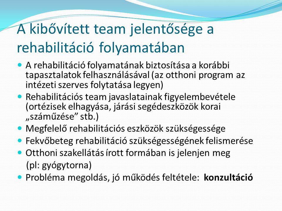 A kibővített team jelentősége a rehabilitáció folyamatában  A rehabilitáció folyamatának biztosítása a korábbi tapasztalatok felhasználásával (az ott